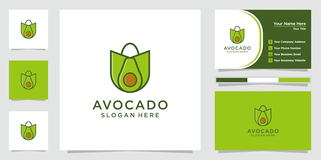 Logo di avocado creativo. logo di design del negozio di avocado e biglietto da visita.