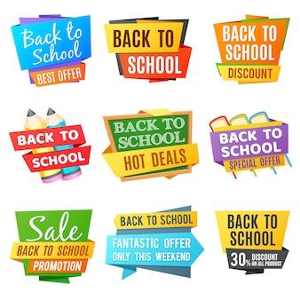 Ritorno a scuola banner pubblicitari vettoriali. insegna colorata scuola, offerta speciale di nuovo all'illustrazione della scuola