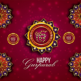 Sfondo creativo con simbolo sikh ek onkar felice gurpurab
