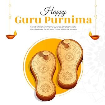 Illustrazione creativa della bandiera per il giorno della celebrazione felice guru purnima