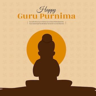 Illustrazione creativa dell'insegna del modello felice di guru purnima