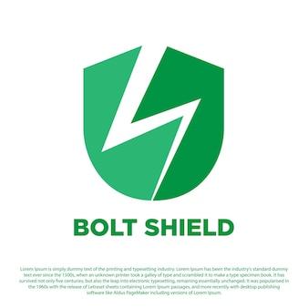 Scudo creativo con logo scudo bullone con design tuono per la tua azienda o altri
