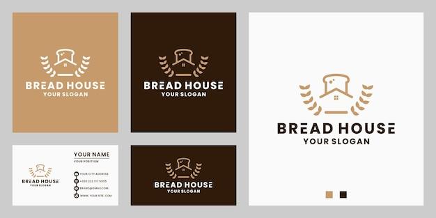 Combinazione creativa della casa del pane con il design del logo della farina per il cibo del ristorante, macchina per il pane