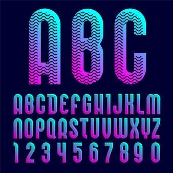 Carattere luminoso creativo, alfabeto in stile pop art.