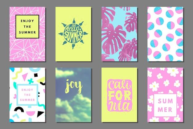 Carte creative luminose per l'inserimento nel diario estivo. volantino al neon retrò di memphis con forme geometriche.