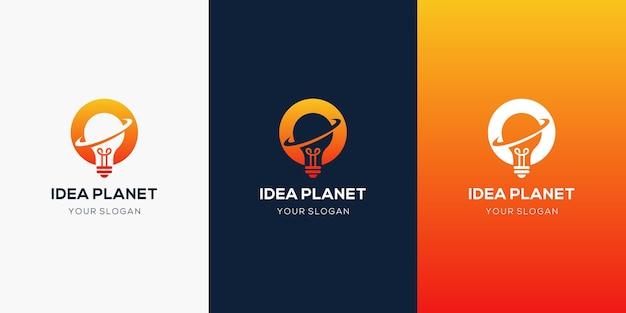 Lampadina creativa e design del logo del pianeta