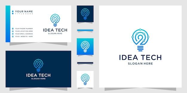 Logo tecnologico della lampadina creativa con idee creative della lampadina e concetto di tecnologia