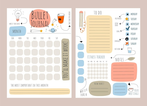 Modello di planner bullet journal creativo