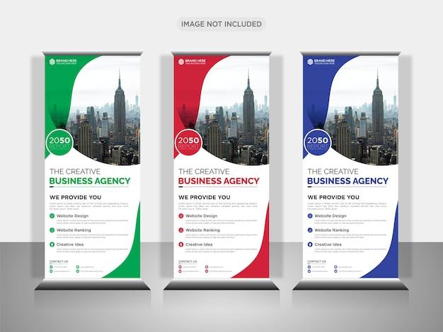 Agenzia di affari creativa roll up design banner o pull up banner design