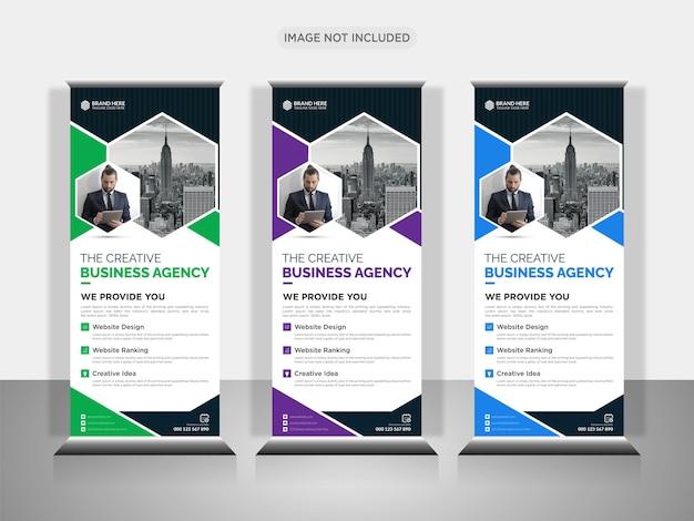 Agenzia di affari creativa roll up design banner con forma creativa o pull up banner design Vettore Premium
