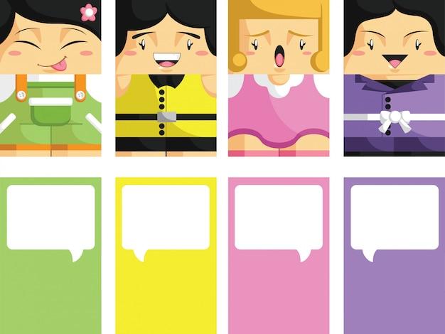 Biglietto da visita creativo con l'illustrazione personalizzabile 2 della ragazza del fronte del fumetto