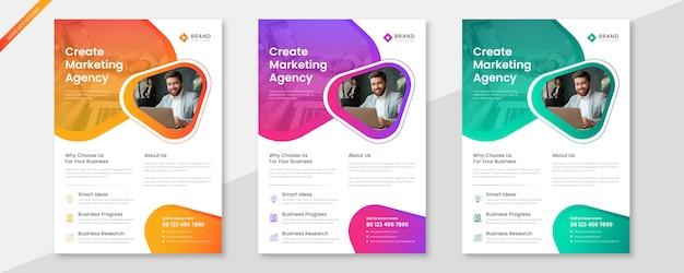 Insieme di modelli di business creativo flyer
