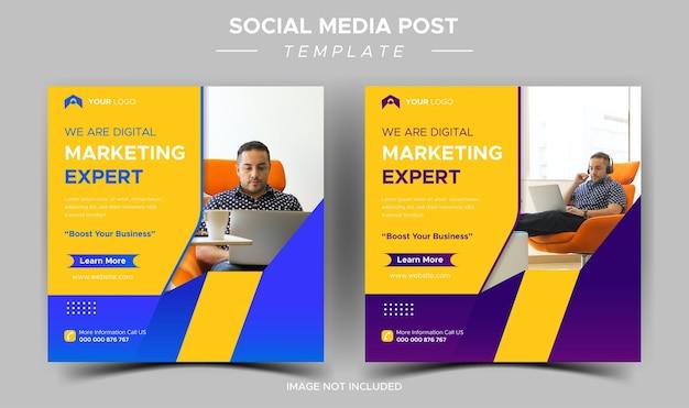 Modello di post instagram esperto di marketing aziendale creativo