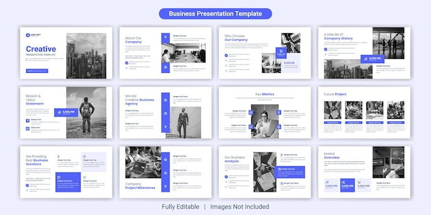 Set di modelli di diapositive per presentazioni aziendali creative