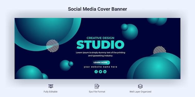 Modello di banner di copertina di facebook per social media aziendali creativi