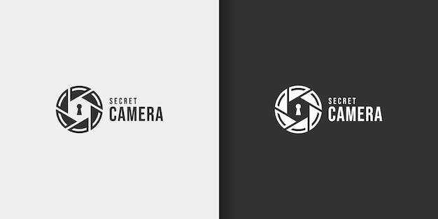 Bobina fotocamera creativa con ispirazione per il design del logo del buco della serratura