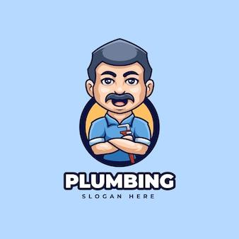 Design creativo del personaggio di mascotte del logo dell'impianto idraulico del fumetto
