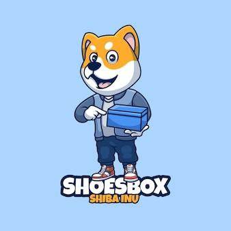 Design creativo del logo del personaggio della mascotte della scatola delle scarpe di shiba inu del fumetto creativo