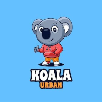 Logo creativo della mascotte del koala urbano del fumetto creativo