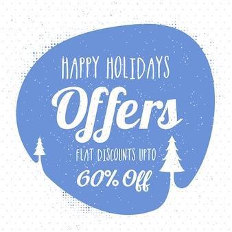 Sfondo natalizio creativo con offerta piatta del 60%