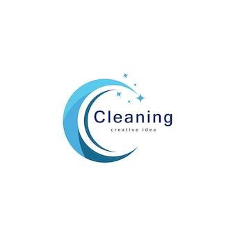 Modello di progettazione del logo del concetto di pulizia creativa
