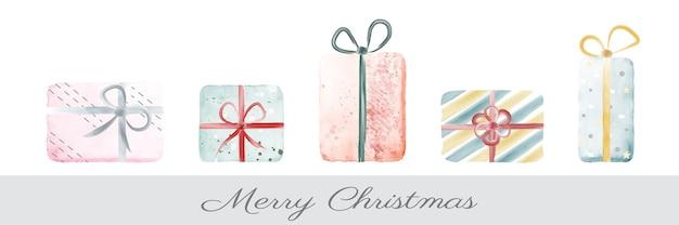 Cofanetto regalo natalizio colorato creativo con acquarello dipinto a mano.