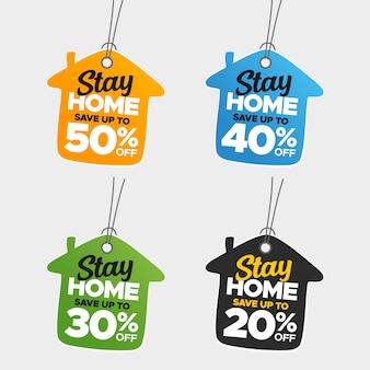 Insieme variopinto creativo di vendita e di prezzi di soggiorno a casa