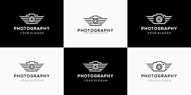 Combinazione creativa di ala della fotocamera e logo dell'obiettivo