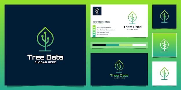 Creativo combina modello di logo foglia e dati.