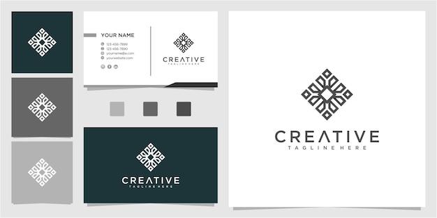 Modello di progettazione del logo della comunità creativa con biglietto da visita