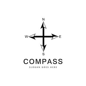 Modello di progettazione del logo del concetto di bussola creativa