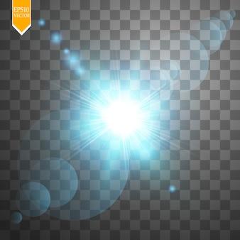 Concetto creativo le stelle ad effetto luce bagliore esplodono di scintillii su sfondo trasparente