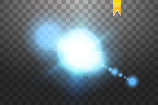 Il concetto creativo di effetto luce bagliore scoppia di stelle