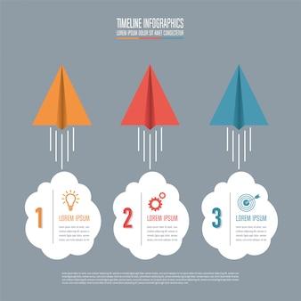 Concetto creativo per infographic. concetto di business con 3 opzioni, passi o processi.
