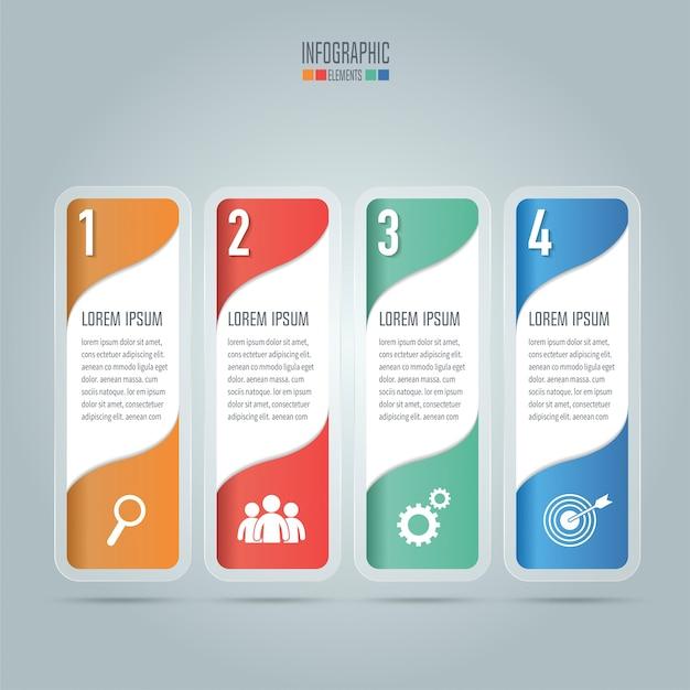 Concetto creativo per infographic. concetto di business con 4 opzioni, passi o processi.