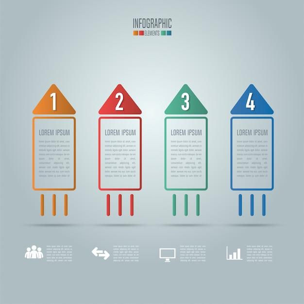 Concetto creativo per infographic. concetto di business di forma rocket con 4 opzioni, passi o processi.