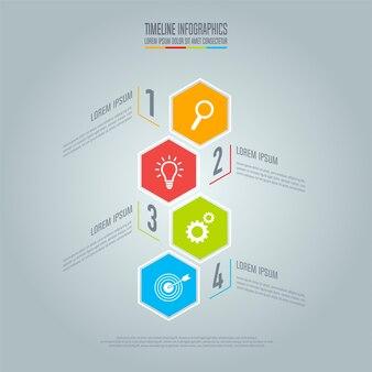 Concetto creativo per infographic. concetto di business timeline con 4 opzioni, passi o processi.