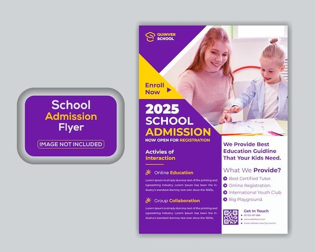 Modello di volantino di ammissione all'istruzione scolastica per bambini di concetto creativo