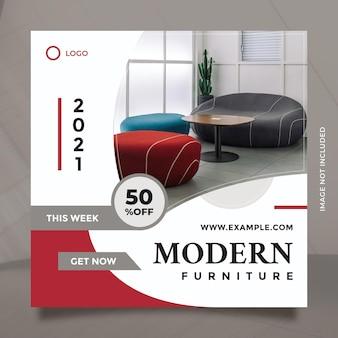 Concetto creativo e design minimalista per la promozione di mobili moderni per post e banner sui social media