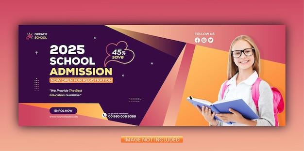 Modello di copertina di facebook e banner web per l'ammissione alla scuola del concetto creativo
