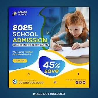 Modello creativo di post di instagram di ammissione alla scuola di concetto e banner web