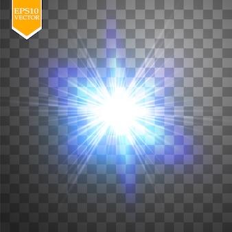 Insieme di concetto creativo di stelle effetto luce bagliore scoppia con scintillii isolati su sfondo nero