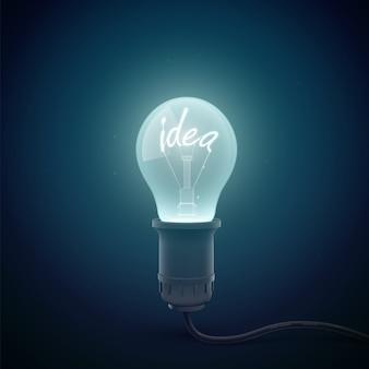 Concettuale creativo con immagine di lampadina incandescente in un ambiente di stanza buia con idea di parola luminante all'interno dell'illustrazione