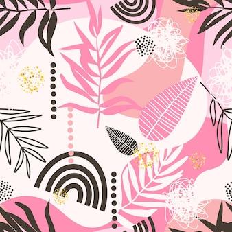 Modello senza cuciture tropicale botanico alla moda contemporaneo creativo
