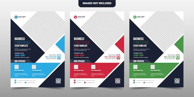 Progettazione creativa del modello dell'opuscolo dell'aletta di filatoio della conferenza aziendale e di affari