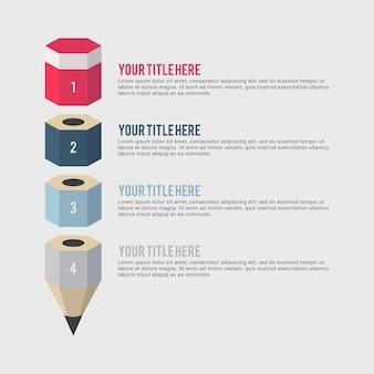 Modello di progettazione infografica illustrazione matita aziendale creativo