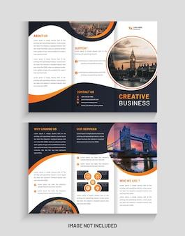 Design creativo di brochure aziendale a tre ante e modello di volantino a tre ante