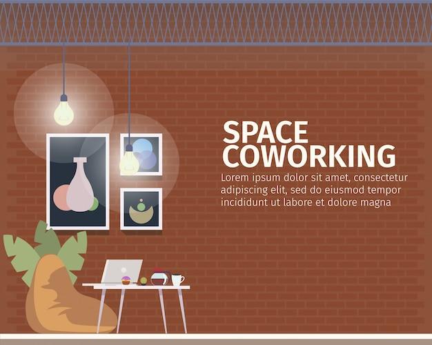 Spazio creativo di coworking per banner freelance