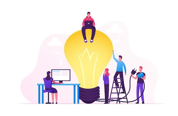 Crisi creativa, lavoro di squadra e ricerca del concetto di idea. cartoon illustrazione piatta