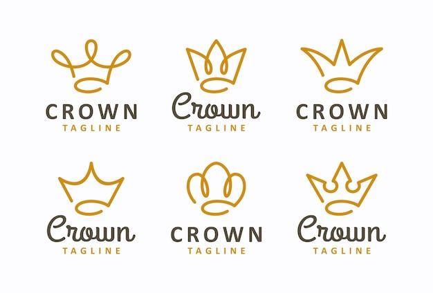 Insieme creativo del modello di progettazione di logo di concetto della corona